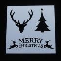 13 x 13cm Reusable Stencil - Tree/Stag/Merry Christmas (1pc)