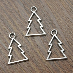 Metal Charms - Hollow Christmas Trees (10)