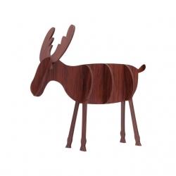 Wooden 3D Reindeer Decoration - Dark Wood, Large (5pcs)