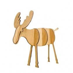 Wooden 3D Reindeer Decoration - Light Wood, Large (5pcs)