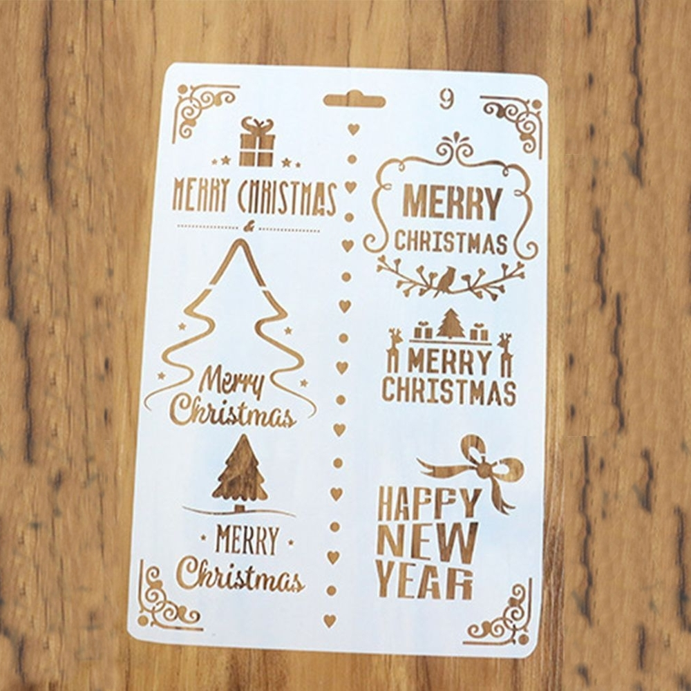Large Christmas Stencils For Wood.Large Plastic Stencil Merry Christmas Happy New Year