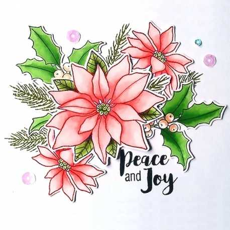 Clear Stamp set - Poinsettia & Holly (6pcs)