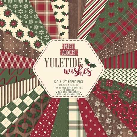 """Paper Addicts Yuletide Wishes Christmas 12"""" x 12"""" Paper Pad (PAPAD019X18)"""