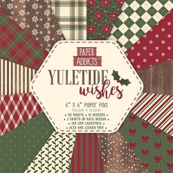 "Paper Addicts Yuletide Wishes Christmas 6"" x 6"" Paper Pad (PAPAD020X18)"