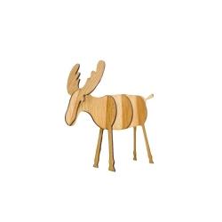 Wooden 3D Reindeer Decoration - Light Wood, Small (5pcs)