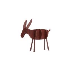 Wooden 3D Reindeer Decoration - Dark Wood, Small (5pcs)