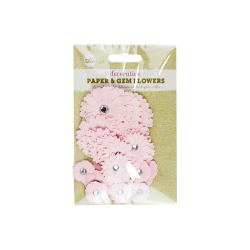 Paper and Gem Flowers, 30 pack - Pink (83384)