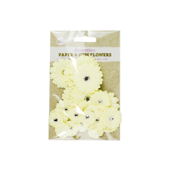 Paper and Gem Flowers, 30 pack - Yellow (U-83384)