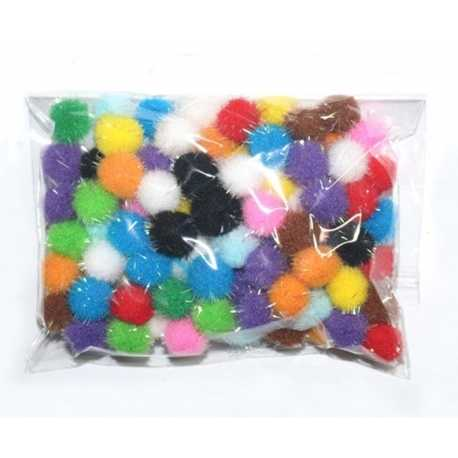 Tinsel Pom-poms 10mm - Multi (100pcs)