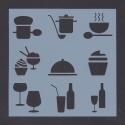 13 x 13cm Reusable Stencil - Food & Drink (1pc)
