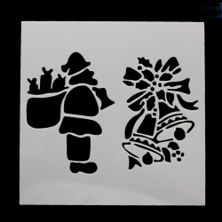 13 x 13cm Reusable Stencil - Santa & Bells (1pc)
