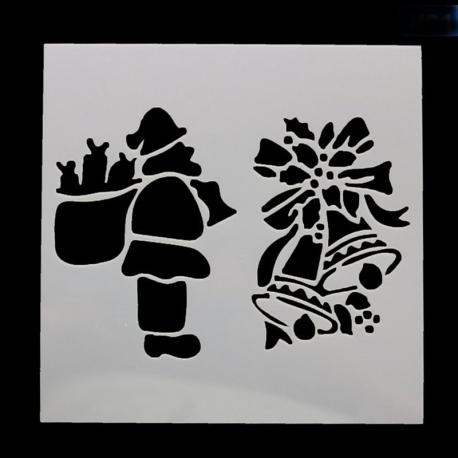 Reusable Stencil - Santa & Bells (1pc)