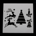 13 x 13cm Reusable Stencil - Reindeer/Tree/Bell/Candle (1pc)