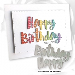 Printable Heaven dies - Large Happy Birthday (2pcs)