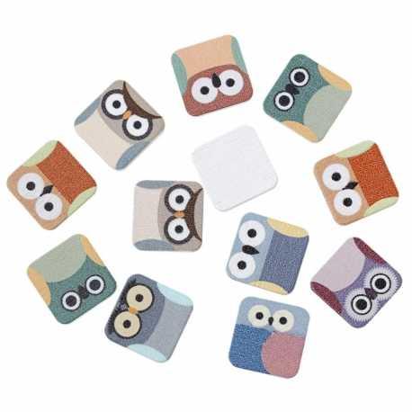 Wooden Owl Tiles (9pcs)