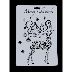 Large Plastic Stencil - Reindeer Christmas (1pc)