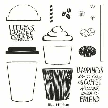 Clear Stamp set - Happiness is a Cup of Coffee (16pcs)