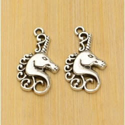 Metal Charms - Unicorn head (6)