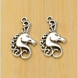 Metal Charms - Unicorn head (6)