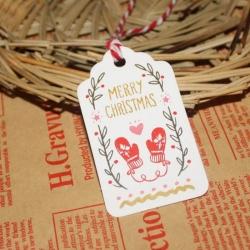 Merry Christmas Printed Tags & Striped Twine (50pcs)