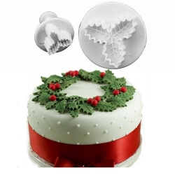 Plunger Cutter set - Triple-leaf Holly (2pcs)