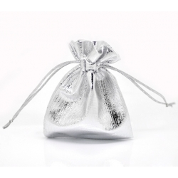 Drawstring Jewellery/Favour Bags - Small Silver (4pcs)