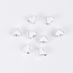 Metal Hearts Beads - Silver (25)