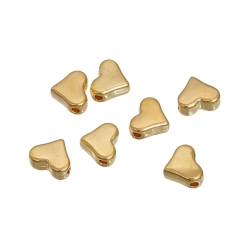 Metal Hearts Beads - Gold (25)