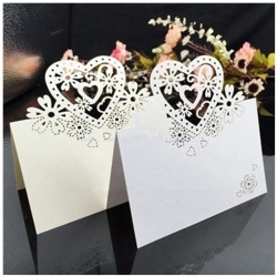 Place-cards - Laser Heart Ivory (12pcs)