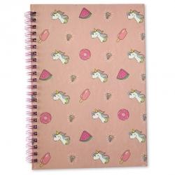 Magical Unicorn A5 Hardback Wired Notebook - Pink (U-83358)