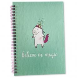 Magical Unicorn A5 Hardback Wired Notebook - Mint (U-83358)
