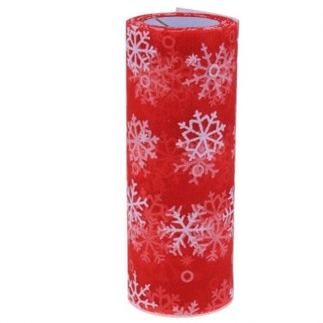Tulle Roll with Snowflakes - Red (15cm x 10 yards)
