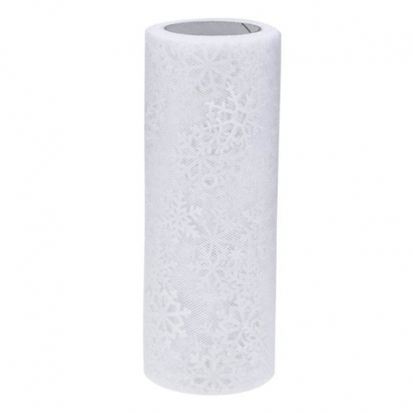 Tulle Roll with Snowflakes - White (15cm x 10 yards)