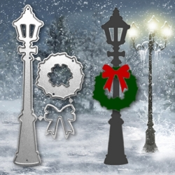 Printable Heaven dies - Christmas Lamp-post with Wreath & Bow (3pcs)