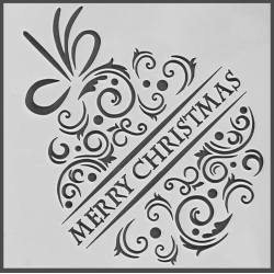 Reusable Stencil - Merry Christmas Bauble (1pc)