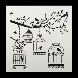 13 x 13cm Reusable Stencil - Birdcages (1pc)