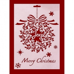 Large Plastic Stencil - Joy Wreath (1pc)