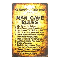 Metal Sign - Man Cave Rules