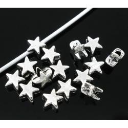 Metal Star Beads - Silver (40pcs)