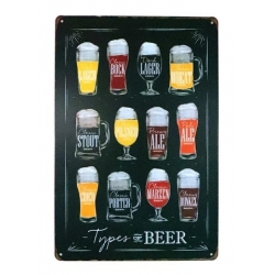 Metal Sign - Types of Beer