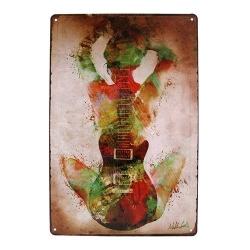 Metal Sign - Guitar Girl