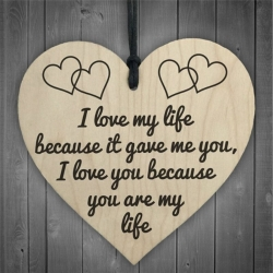 Wooden sign - I love my life (1pc)