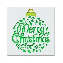 13 x 13cm Reusable Stencil - Merry Christmas Holly Bauble (1pc)