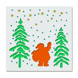 Reusable Stencil - Santa with Trees (1pc)
