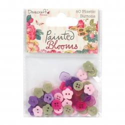 Dovecraft Painted Blooms Plastic Buttons (DCBTN017)