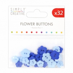 Simply Creative Flower Buttons (32pcs) - Blues (SCBTN010)
