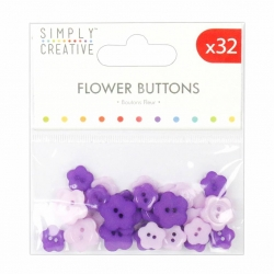 Simply Creative Flower Buttons (32pcs) - Purples (SCBTN012)