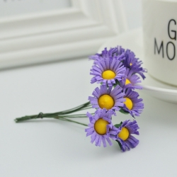 Mini Fabric Daisy Bunch - Purple (10 flowers)
