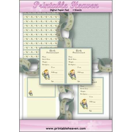 Download - Digital Paper Pad - Birth Announcement - Boy