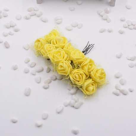 Foam Roses - Yellow (Bunch of 12)